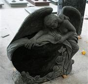 Tropical Green Polished Angel Carving Tombstone & Monument