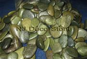 polished green river pebbles