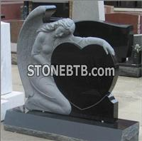 Black Granite Angel Carving Tombstone and Mmonument