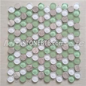 [Mius Art Mosaic] Penny round green white glass mosaic circle mosaic tile backsplash C2014