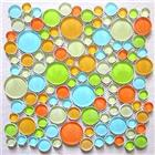 [Mius Art Mosaic] Glossy white ,blue and orange color mix crystal glass mosaic tile for Children room
