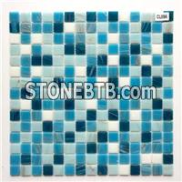 Sea blue gold line texture glass mosaic tile DIY wall background decoration