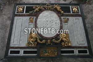 Marble Wall Decoration with Bronze Sculpture