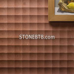 3d interior design with stone wall panel