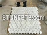 Hexagon Carrara White Mosaic, Italian Bianco Carrara Marble Mosaic Tiles