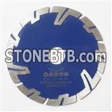 Small diameter flush cut diamond blade with protection teeth