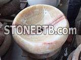 Honey pink onyx round basin