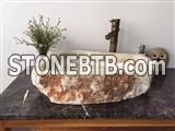 Yellow onyx irregular basin