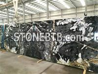 New black marble book match wall and floor design