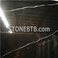 Nero Black Marquina Honed Marble Slabs&floor Tiles