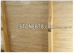 Classic Light Travertine Slabs- Veincut