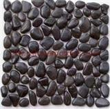 Black high-polished pebble mosaic tile