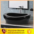 2015 Hot sale fashionable black Granite stone round bathroom basin and sink
