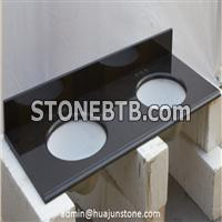 Absolute Black Granite Bathroom Vanity Tops with Double Sinks