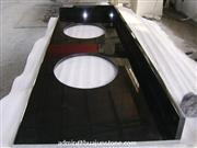 Absolute Black Granite Double Sinks Bathroom Countertops Manufacturer