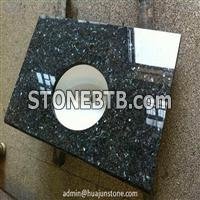 Blue Pearl Granite Bathroom Vanity Tops With Ceramic Basin