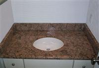 Giallo Veneziano Granite Bathroom Vanity Tops with White Porcelain Sink Factory