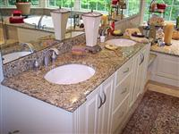 Giallo Veneziano Granite Bathroom Vanity Tops with Double White Ceramic Bowls