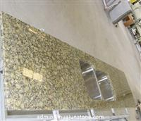 Giallo Veneziano Granite Kitchen Countertops with Stainless Steel Washbasin