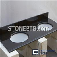 Absolute Black Granite Vanity Top with Double Bowl