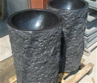 Black basalt  peal black tiles blocks stone basion for the building projects