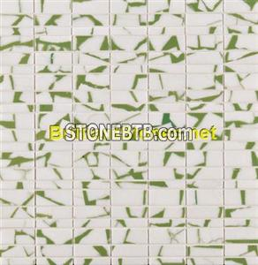 Dotted Light Green Thassos White Marble Mosaic