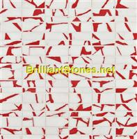 Dotted Light Red Thassos White Marble Mosaic