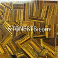 Yellow Tiger Eyes Semiprecious Stone Irregular Patchwork