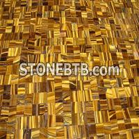 Yellow Tiger Eyes Semiprecious Stone Crossing Patchwork