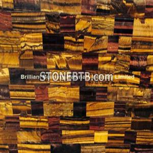 Multicolor Tiger Eyes Semiprecious Stone(Mixed Yellow, Blue, Red)