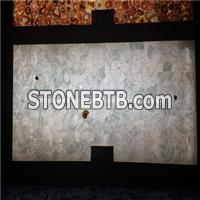 Backlit White Rock Crystal Semiprecious Stone Slab