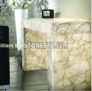Backlit,White Rock Crystal Table Tops with legs, Buy (Stone) Product