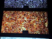 Backlit Red Agate Semiprecious Stone Slab Panel
