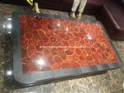Semiprecious Stone Red Agate Inlayed Tabletops