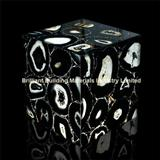 Backlit Semiprecious Stone Black Agate Cube Box