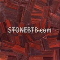 Deep Red Tiger Eyes Stone Irregular Patchwork