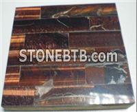 Wine Red Tiger Eyes Stone Tile Veins Patchwork