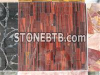 Red Tiger Eyes Stone Tiles Vertical Patchwork