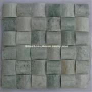 Ming Green Marble Mosaic Convex Basketweave Design
