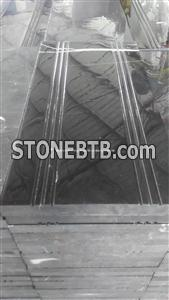 Hunan Ink Black Marble Step With Anti Slip Lines Black Marble Stair