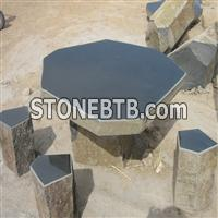 Basalt Stone Bench and Table