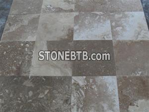 Commercial, Mosaic designed travertine