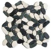 Mixed sliced pebble mosaic tile