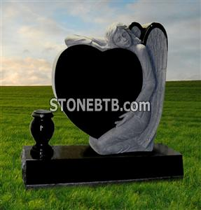 American style granite headstone with angle