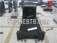 Black granite grave markers with cover slab