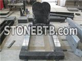 Heart shape granite headstone with kerbs