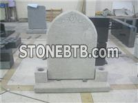 White granite headstone with vase and base