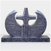 Blue granite headstone monument with cross