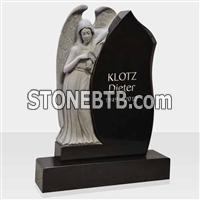 Granite monument with angel statue