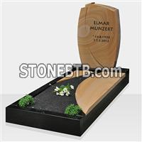 New style headstone grave markers with slab
